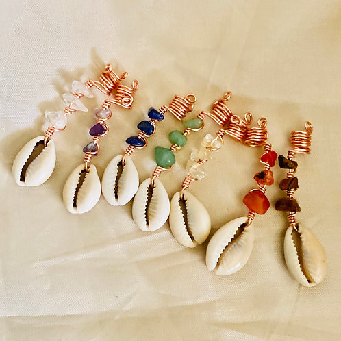 Hair Jewelry|7 Chakra with Cowrie Shell Set (7pcs)