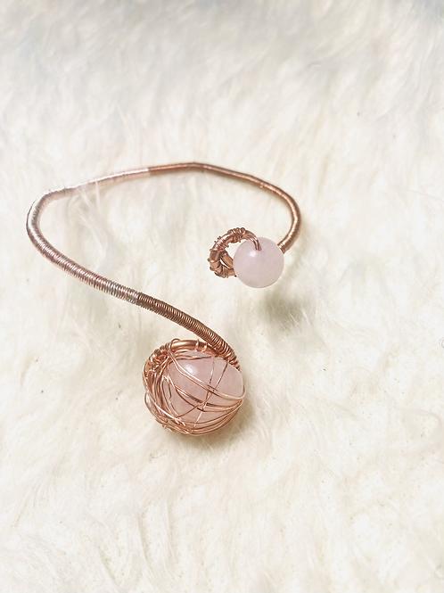 Rose Quartz Copper Cuff