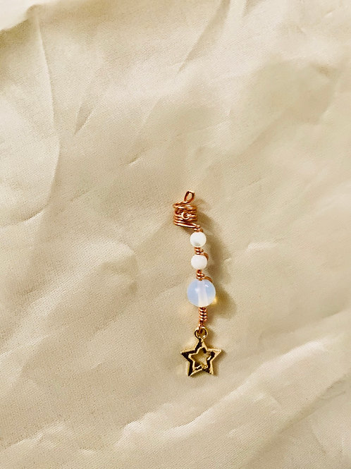 Hair Jewelry| Mother of Pearl & Opal Moonstone w/ Star Charm
