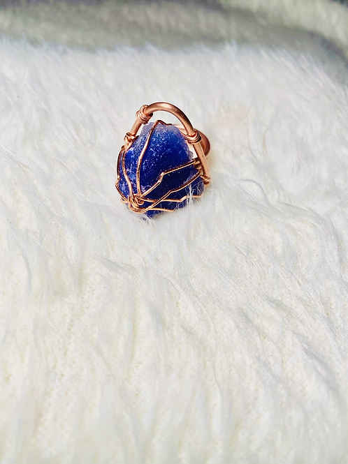RINGS|Blue Sapphire Triangle w/ Copper Large Sz 9
