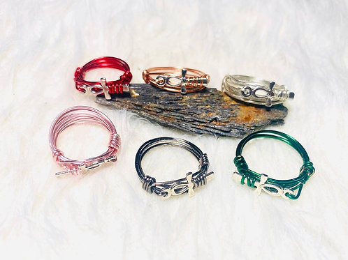 RINGS: Ankh Charm w/ Color Copper Ring Multiple Sizes