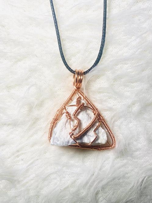 Howlite Triangle Copper Pendant