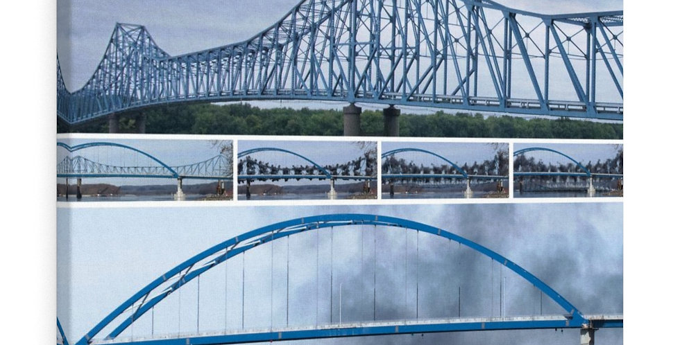 Savanna Sabula Bridge Implosion Canvas Gallery Wraps
