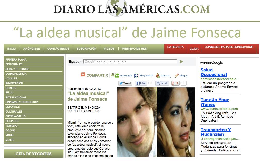 LA ALDEA en El Diario Las Américas.c