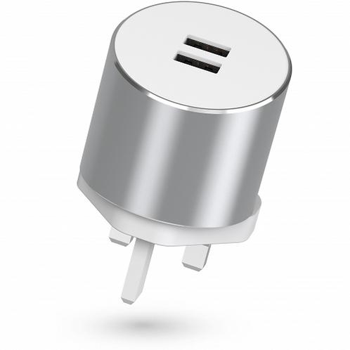 Kit - 3.4A USB 3-Pin UK Charging Metal Plug - Silver (14-Day)