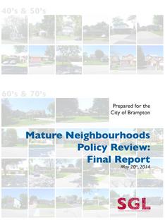 Brampton Mature Neighbourhoods Policy Review