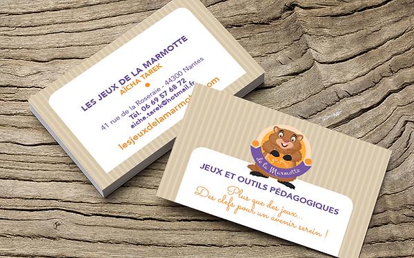 LES JEUX de la MARMOTTE logo et carte de visite