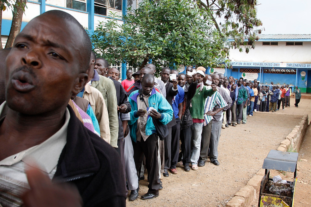 Voters queue at polling station for Kenyan elections