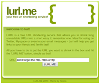 Archive image of the now defunct URL shortner lurl.me. The name is strikingly similar to 'lure me'.