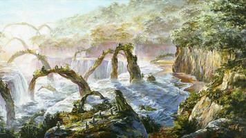 3593. 桃源郷の渓流を下る夢