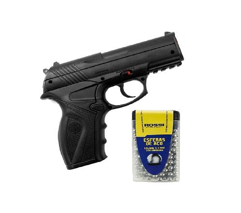 Pistola De Pressão Rossi C11 4,5mm Co2 Airgun + Esferas de aço 4.5 com 300und.