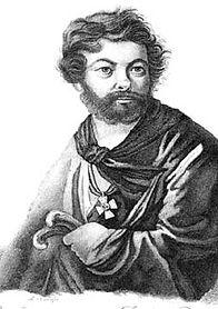 Давыдов Денис Васильевич. Гравюра А.Афанасьева с оригинала В.Лангера. 1820-е годы.