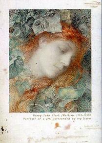 Henry John Stock: Портрет девушки в окружении плюща. 1903 год.