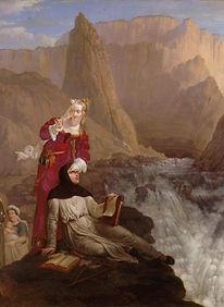 Петрарка и Лаура у водопада.