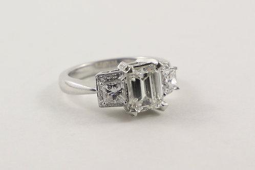 14k Emerald Cut Diamond Engagement Ring