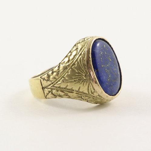 Vintage Mid-Century 18K Gold and Lapis Men's Ring