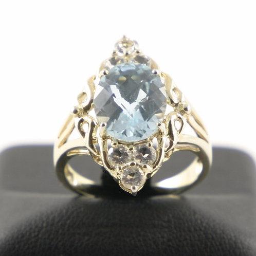 10K Blue and White Topaz Ring