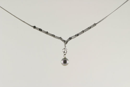Vintage Platinum and Akoya Pearl Drop Necklace