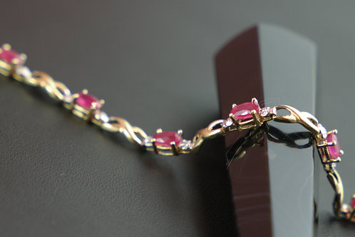 10K Ruby & Diamond Tennis Bracelet