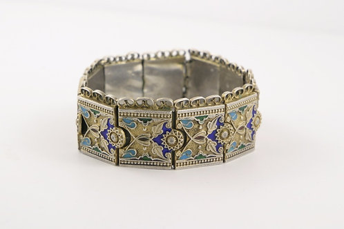 Antique Russian Silver Enamel Bracelet ca 1900