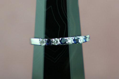 14k Sapphire & Diamond Semi-Eternity Band