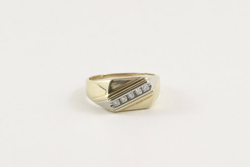 10K Man's 5 Diamond Signet Ring