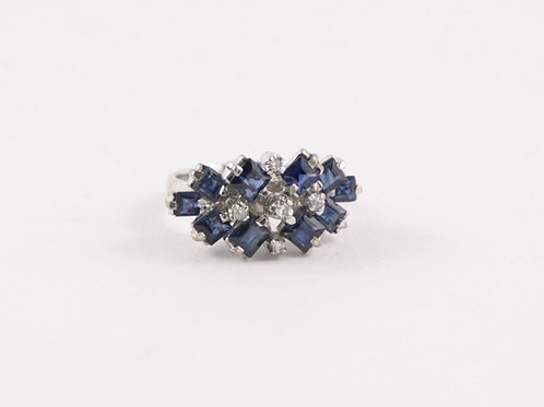 Vintage 14K w/g Sapphire and Diamond Cluster ring