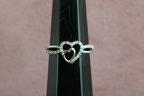10k Double Heart Diamond Ring