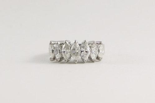 14K White Gold Vintage 7 Marquis Diamond Ring