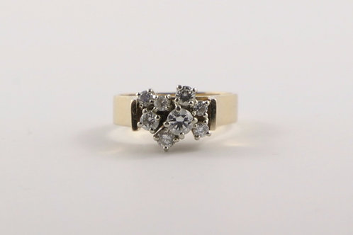 14K Free Form Diamond Cluster 0.75 Ct Ring