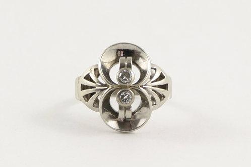 Vintage Mid-Century 14K White Gold and Diamond Ring