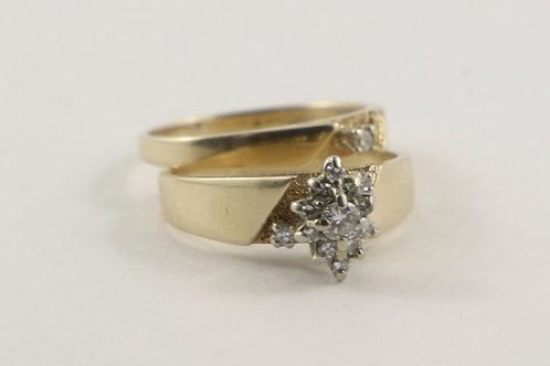 14K Diamond Cluster Engagement Ring and Wedding Band Set