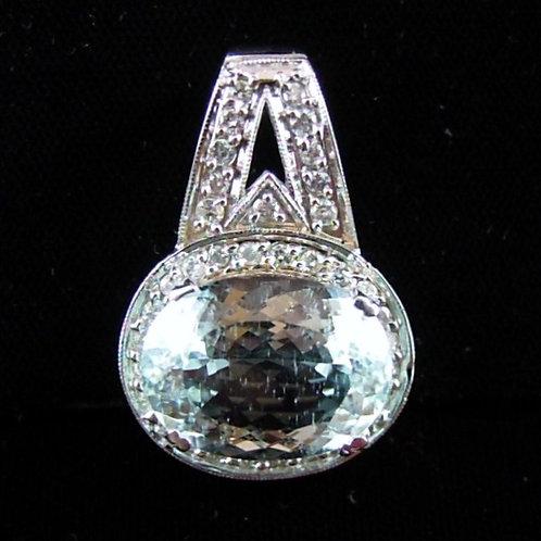 Aquamarine & Diamond Slide Pendant