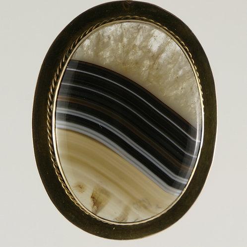 14K Art Deco Large Scottish Banded Agate Pendant