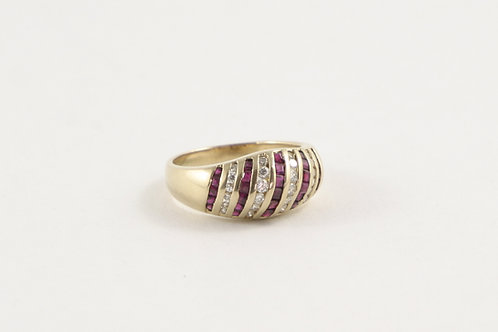 14K Domed ring with Square Cut Rubies and Round Diamonds