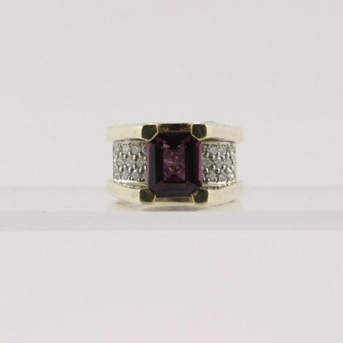 14K Gold Rhodolite Garnet and Diamond Ring Custom-Made