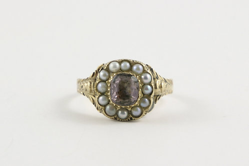 Antique Georgian Pink Topaz and Seed Pearl Ring