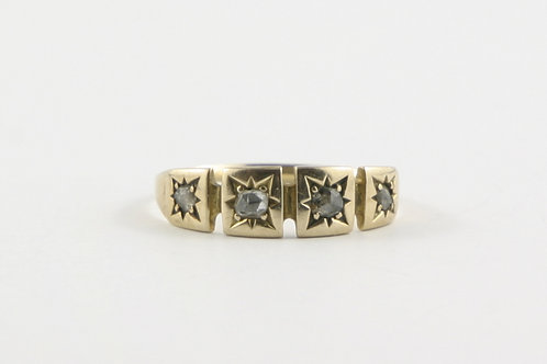 Antique 9 Ct Gold and Four Rose Cut Diamond Ring