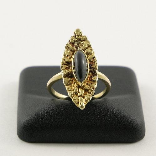 14K Vintage Natural Yellow Gold Nugget & Black Onyx Ring