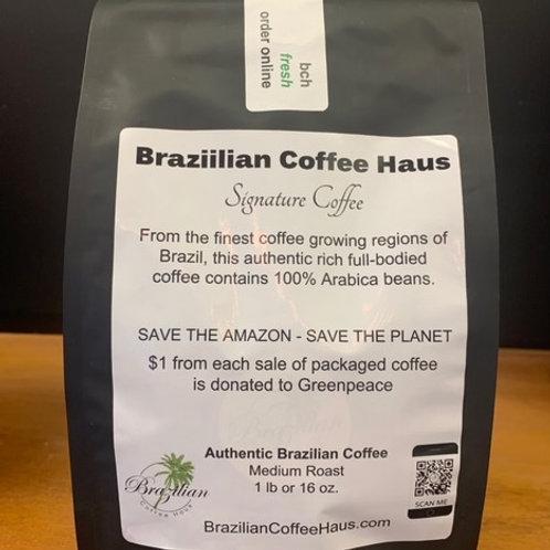 Brazilian Coffee Haus Medium Roast Whole Bean or Ground Coffee