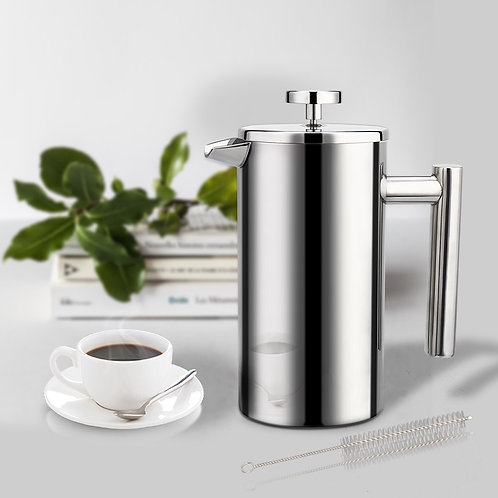 Stainless Steel French Press, High Quality, Double-Wall Insulated, 1000ml