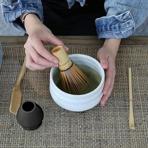 3 in 1 Japanese Matcha Tea Making Tool Set - Ceramic Bowl, Bamboo Scoop & Whisk