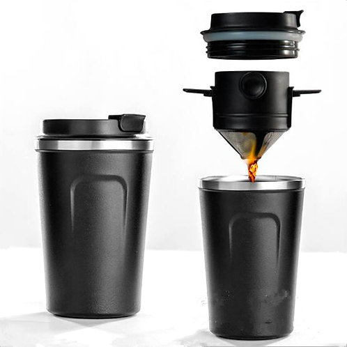 Portable Coffee Travel Mug, Reusable Filter  W/Coffee Dripper And Tea Cup