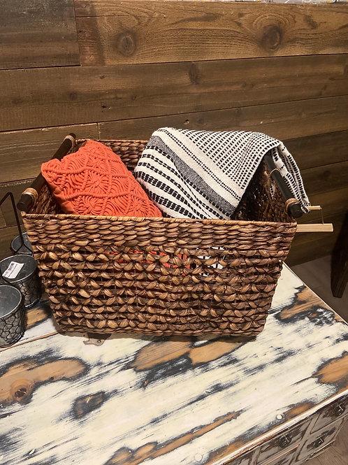 Large woven blanket basket