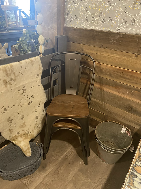Metal & Wood Pair (2) chairs