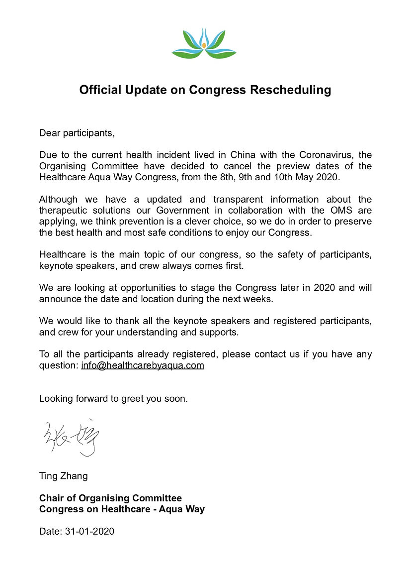 Official Update on Congress Rescheduling