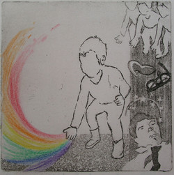 Rigney- 2016- yesterday's rainbow- etching, emboss, hand color copy