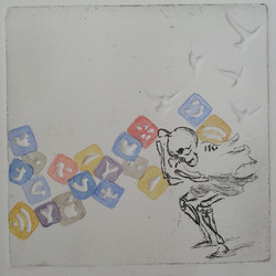Rigney- 2016 -  the on slaught- etching, emboss, watercolor