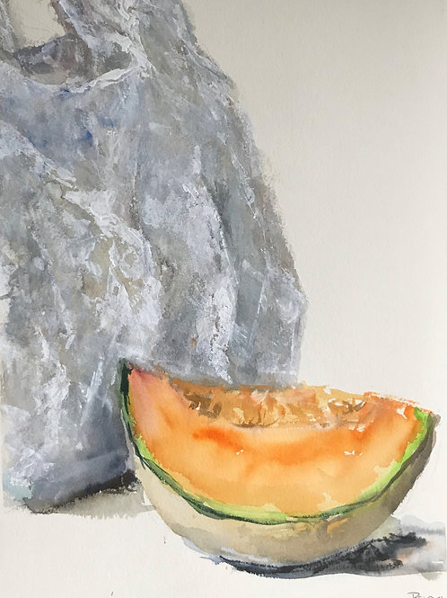 Melon with plastic bag