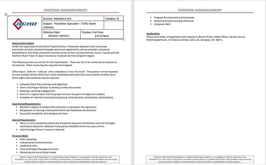 Job Posting TORC Prevention Specialist.JPG